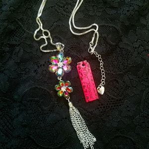 Betsey Johnson Double Chain Flower Necklace